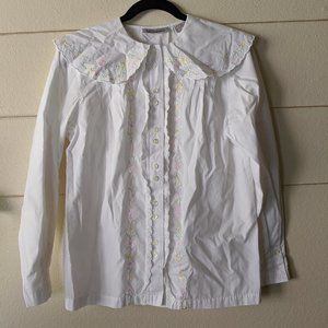Vintage Karen Scott Peter Pan Collar White
